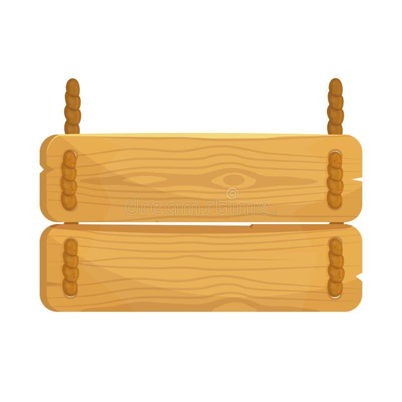 Quadro indicador de madeira dos desenhos animados na corda Prancha para bandeiras ou mensagens no estilo de provence ilustração royalty free