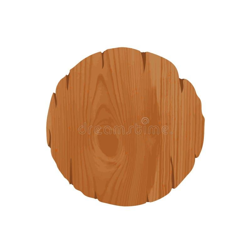 Quadro indicador de madeira grosseiro redondo vazio com lugar para a informação ou a propaganda Quadro de avisos circular velho i ilustração royalty free
