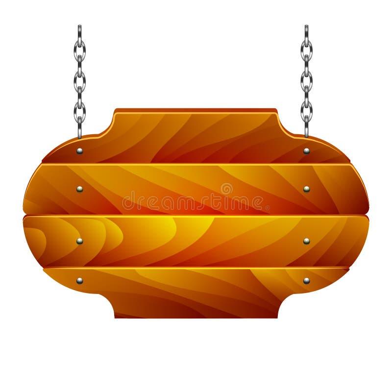Quadro indicador de madeira na corrente isolada no vetor branco ilustração do vetor