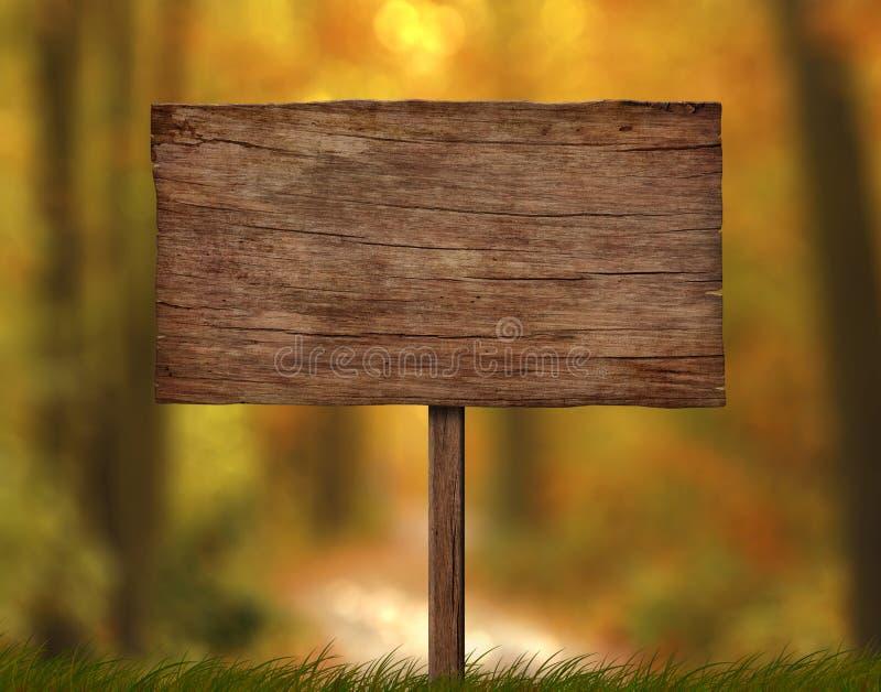 Quadro indicador de madeira resistido velho com único fundo da floresta do polo e do outono ilustração do vetor