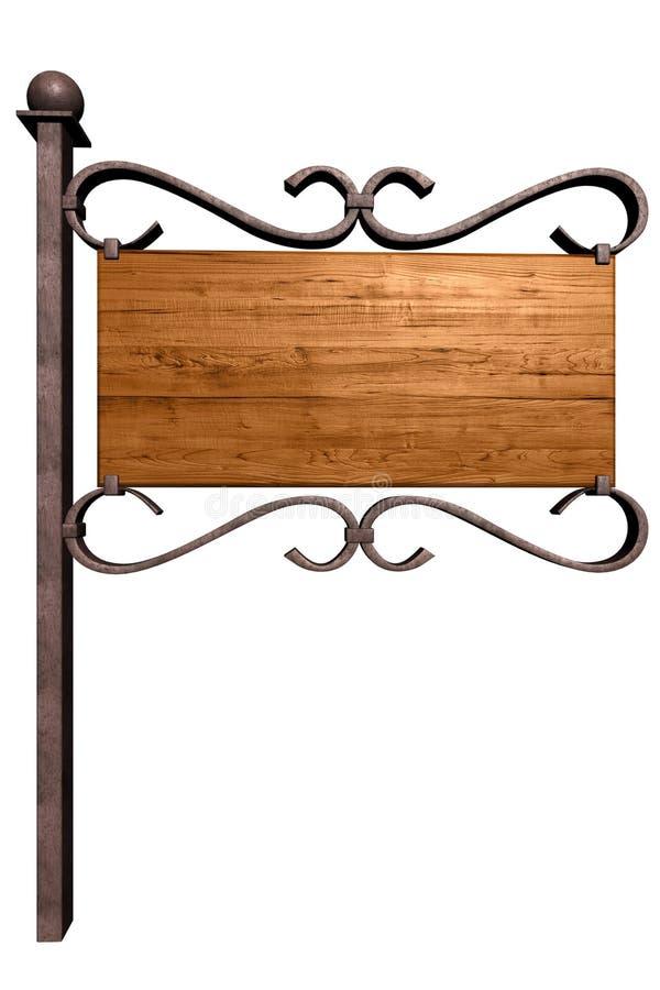 Quadro indicador de madeira velho ilustração do vetor