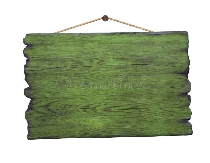 Quadro indicador de madeira verde do Grunge que pendura no prego imagens de stock