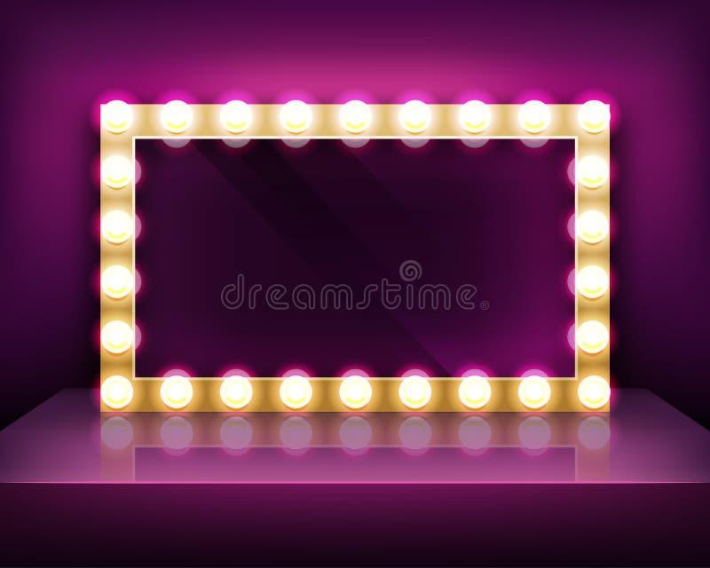 Quadro indicador do ouro ou quadro do espelho da composição com molde das ampolas ilustração royalty free