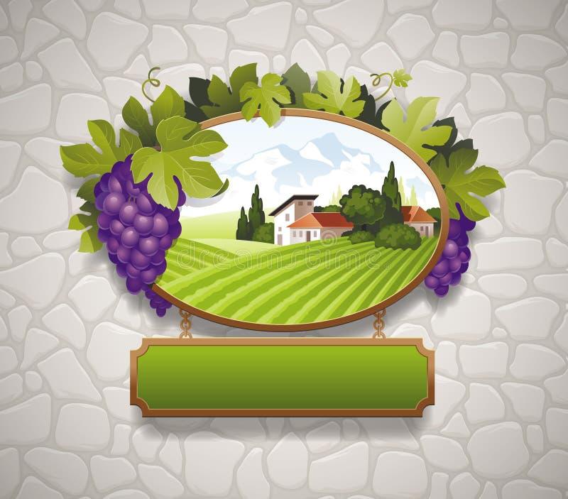 Quadro indicador do vintage com uvas ilustração do vetor