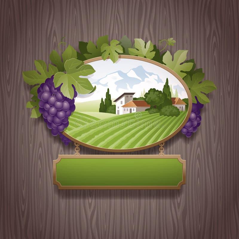 Quadro indicador do vintage com uvas ilustração royalty free