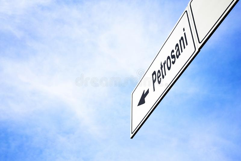Quadro indicador que aponta para Petrosani fotografia de stock royalty free