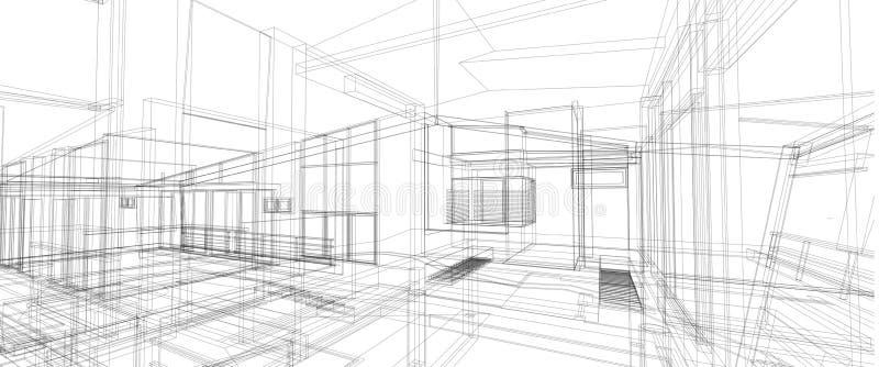Quadro interior do fio da perspectiva do conceito de projeto 3d do espaço da arquitetura que rende o fundo branco isolado ilustração do vetor