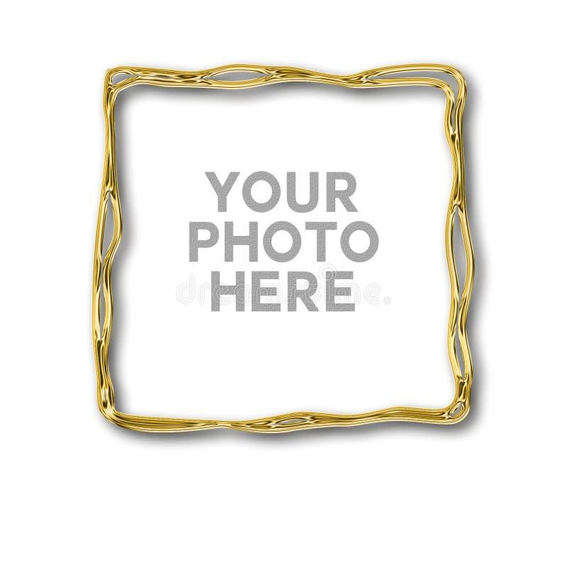 Quadro irregular dourado para sua foto ilustração stock