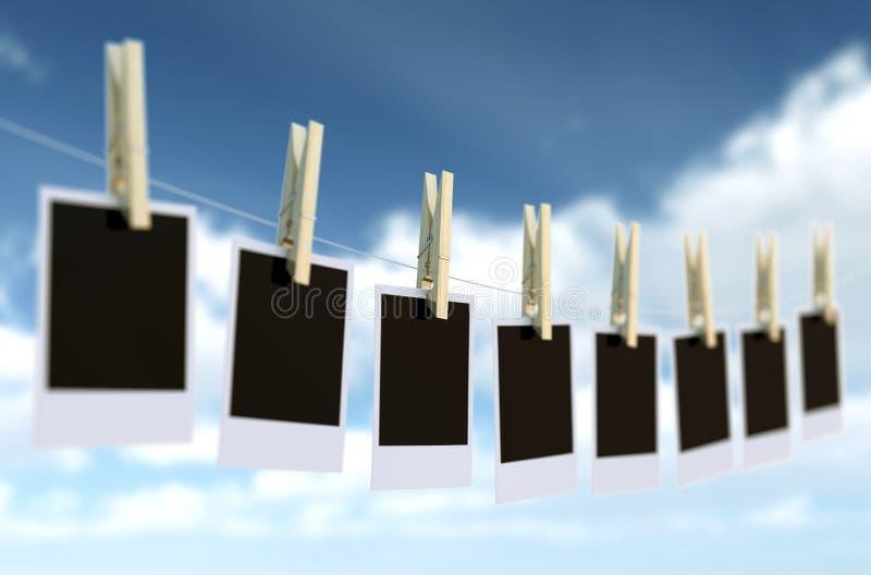 Quadro isolado da foto com clothespin ilustração stock