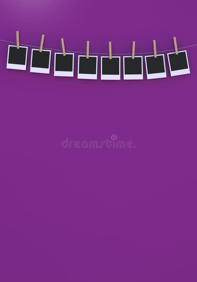 Quadro isolado da foto com clothespin ilustração do vetor