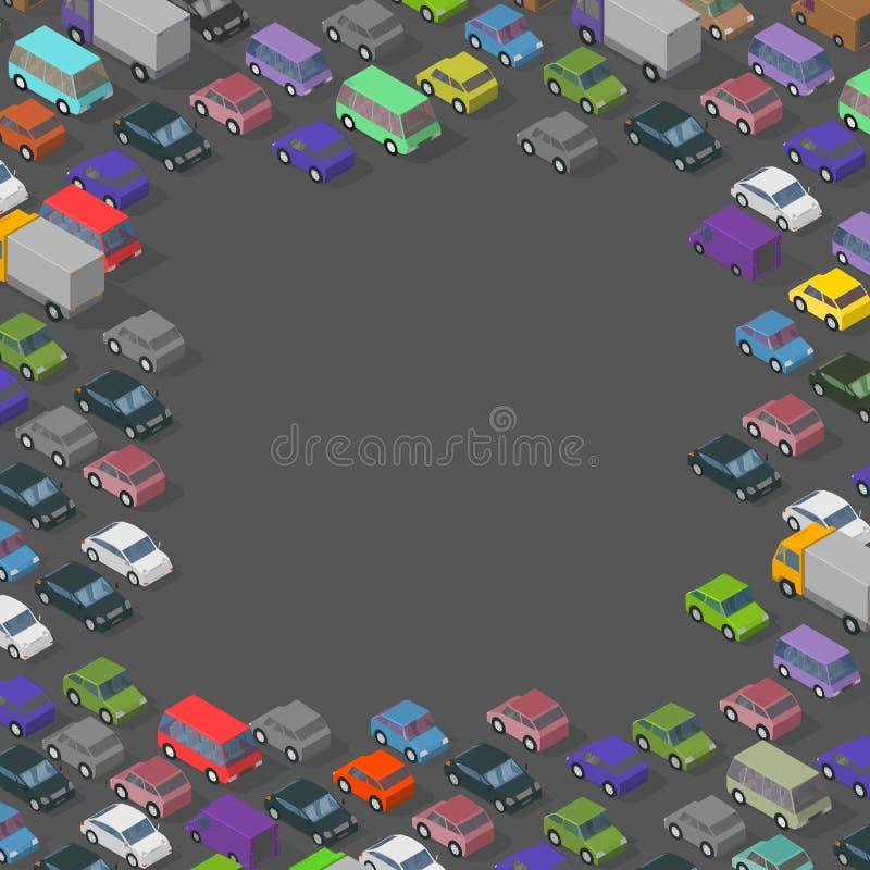 Quadro isométrico dos carros do tráfego r r o Vetor ilustração royalty free