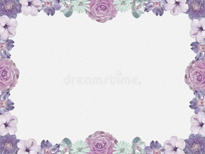 Quadro lilás da flor, estilo nostálgico ilustração do vetor