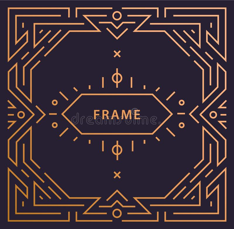 Quadro linear do art deco do vetor com espaço para o texto, molde geométrico do projeto do convite do casamento do vintage, decor ilustração royalty free