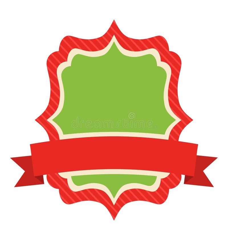 Quadro liso do vintage do ícone da etiqueta do Natal com isolado no branco ilustração do vetor