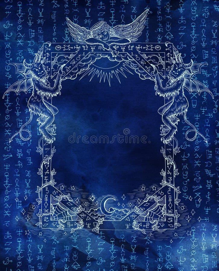Quadro mágico com anjo, demônios e símbolos de brilho no azul ilustração royalty free