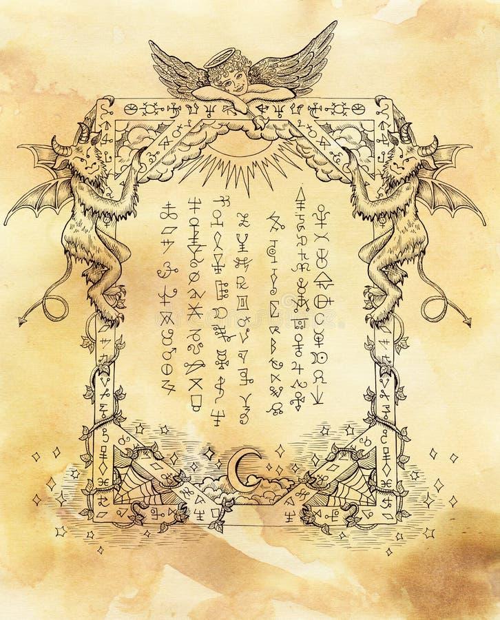 Quadro místico com anjo e demônios no fundo textured ilustração stock