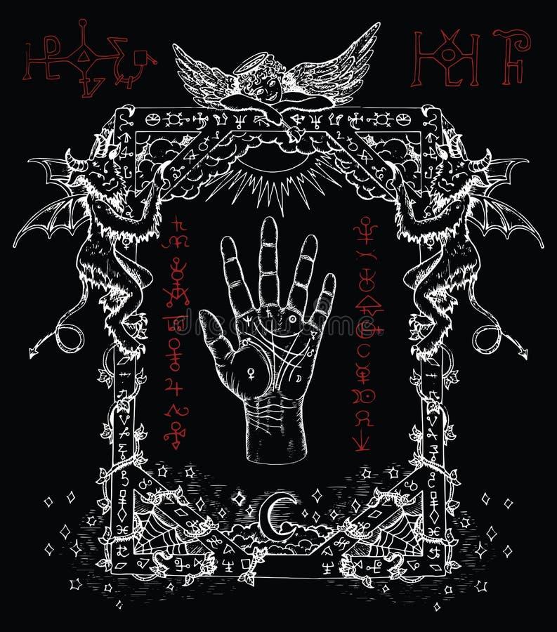 Quadro místico com palma, demônios e anjo da quiromancia ilustração do vetor