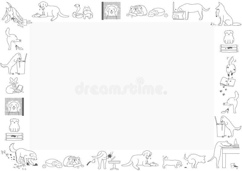 Quadro mau dos cães ilustração royalty free