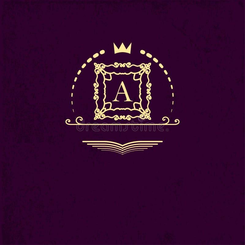 Quadro modelado quadrado do ouro em torno da letra A Molde do projeto dos logotipos, monograma gracioso Emblema simples para dire ilustração do vetor