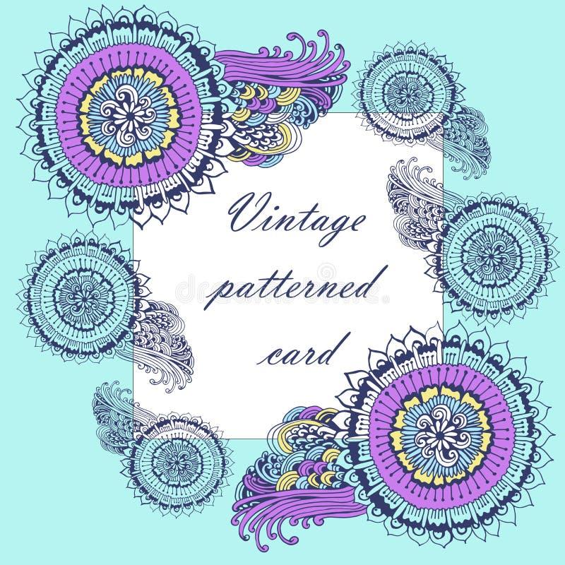 Quadro modelado vintage do fundo com paisley ilustração stock