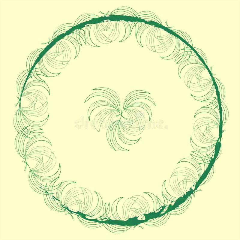Quadro na moda à moda do modelo da etiqueta com folhas de palmeira em um teste padrão do verde do círculo em um fundo bege pálido ilustração royalty free