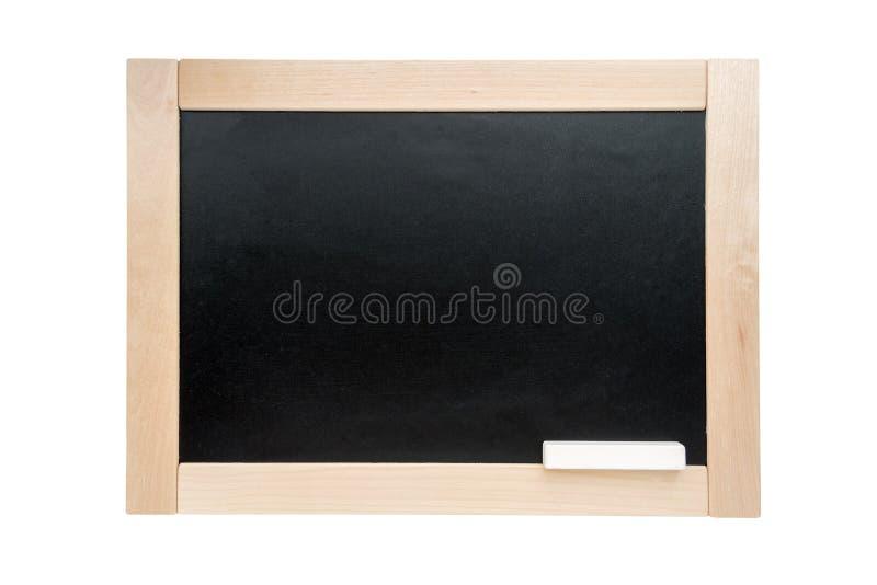 Quadro-negro A administração da escola no quadro de madeira isolado no fundo branco imagens de stock royalty free