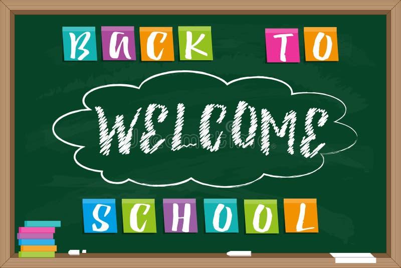 Quadro-negro com boa vinda tirada giz da inscrição e do ` da inscrição de volta ao ` da escola ilustração royalty free