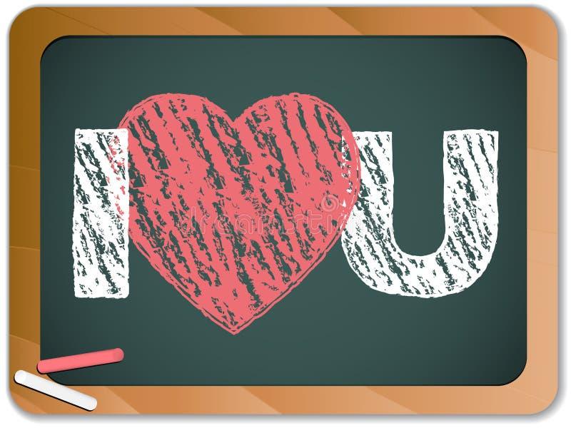 Quadro-negro com coração do amor de I você mensagem ilustração do vetor