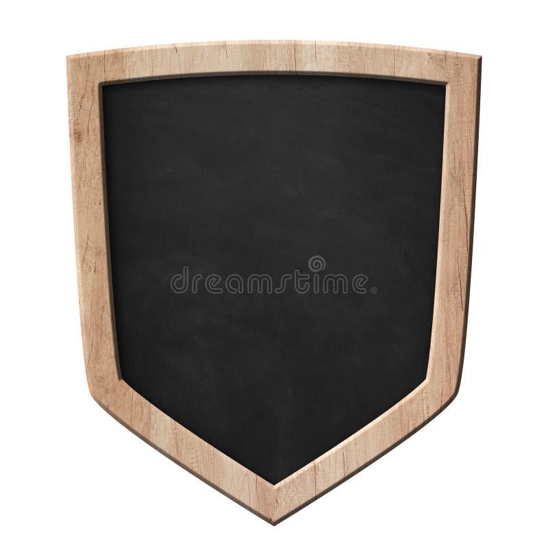 Quadro-negro com forma do protetor da defesa com quadro de madeira brilhante ilustração royalty free