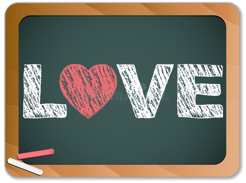 Quadro-negro com mensagem do coração do amor ilustração royalty free