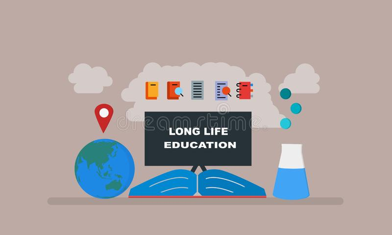 Quadro-negro da educação, terra, ilustração de livros ilustração royalty free