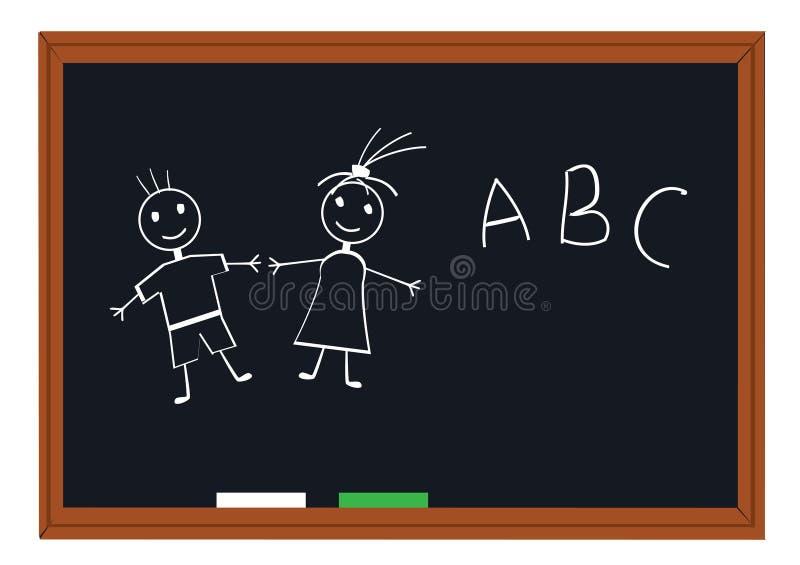 Quadro-negro da escola ilustração royalty free