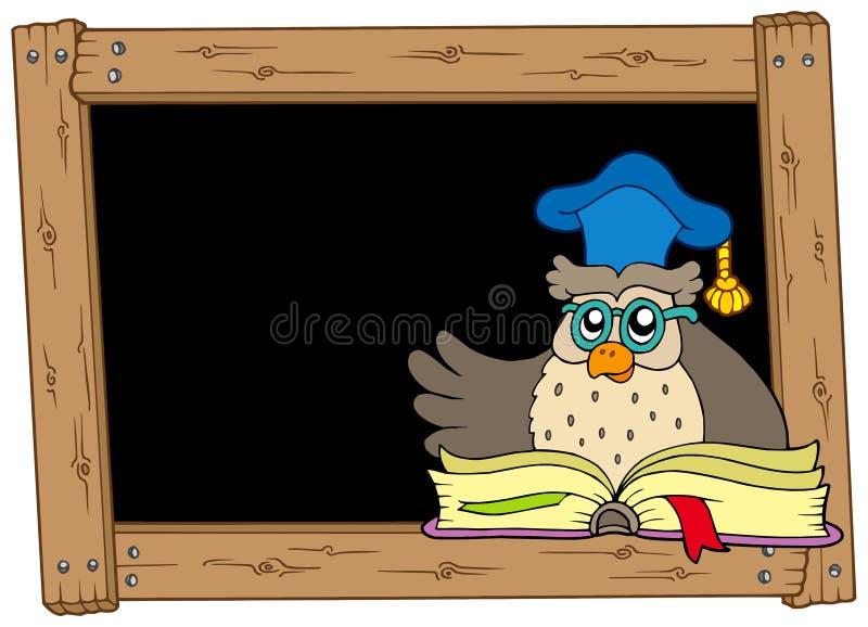 Quadro-negro de madeira com professor da coruja ilustração royalty free