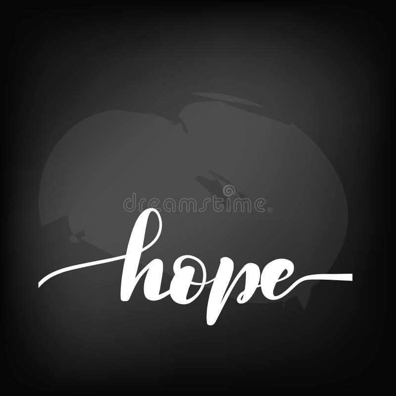 Quadro-negro do quadro que rotula a esperança handwritten ilustração stock