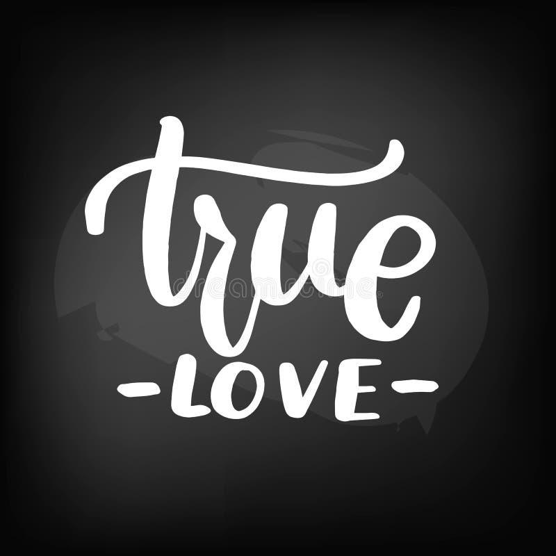 Quadro-negro do quadro que rotula o amor verdadeiro ilustração stock