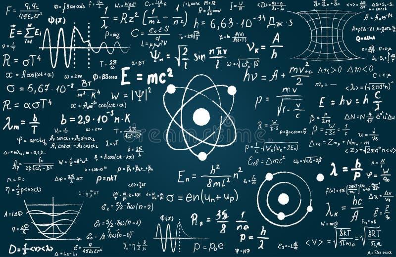 Quadro-negro inscreido com fórmulas e cálculos científicos na física e na matemática Pode ilustrar científico ilustração do vetor