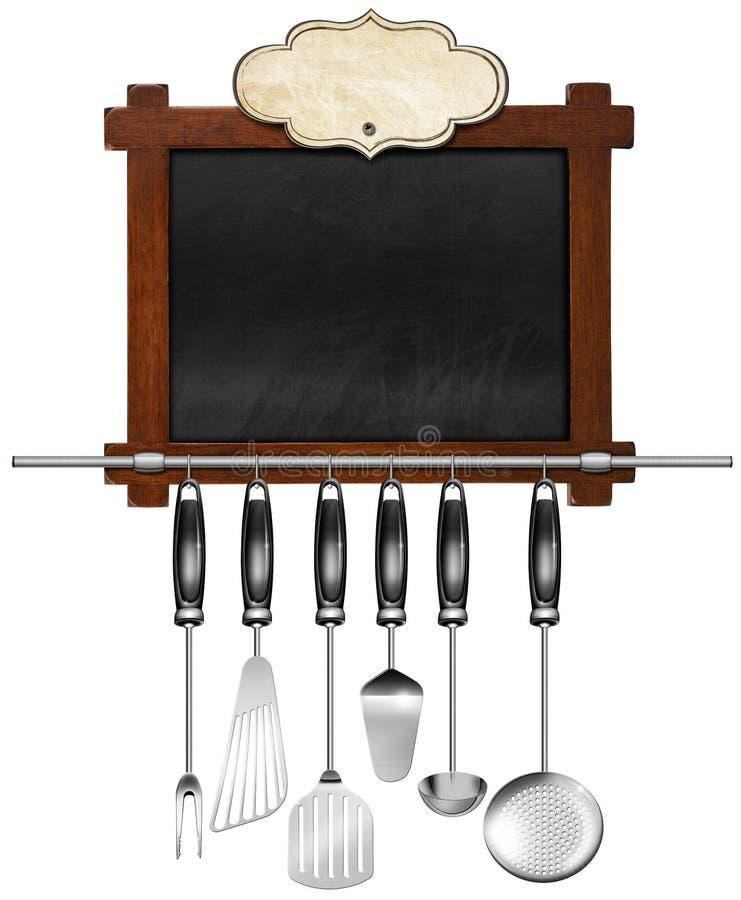 Quadro-negro vazio com utensílios da cozinha ilustração do vetor