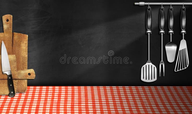 Quadro-negro vazio na cozinha ilustração stock