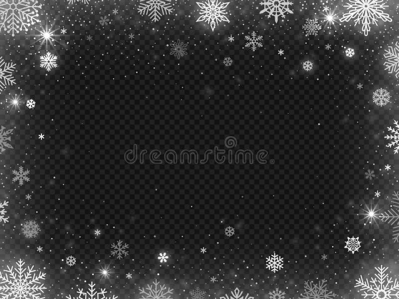 Quadro nevado da beira A neve do feriado do Natal, os flocos de neve claros do blizzard da geada e o floco de neve de prata vecto ilustração stock