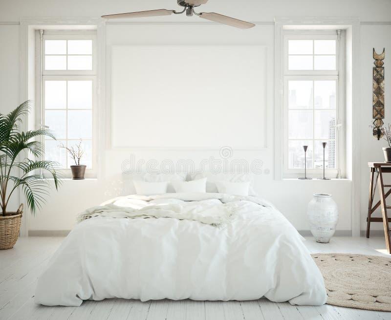 Quadro no quarto, estilo escandinavo do cartaz do modelo ilustração do vetor