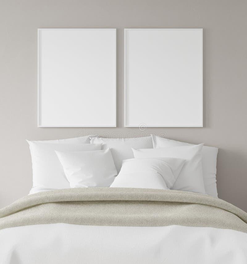 Quadro no quarto, estilo escandinavo do cartaz do modelo foto de stock