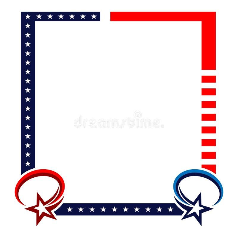 Quadro o fundo com listras e as estrelas vermelhas da bandeira dos E.U. ilustração royalty free