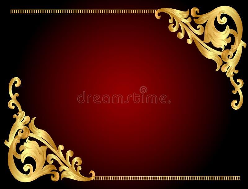 Quadro o fundo com teste padrão angular do ouro (en) imagens de stock
