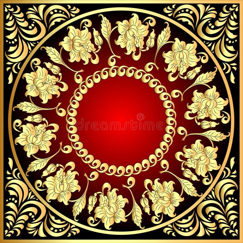 Quadro o fundo com teste padrão do ouro (en) com flor ilustração do vetor