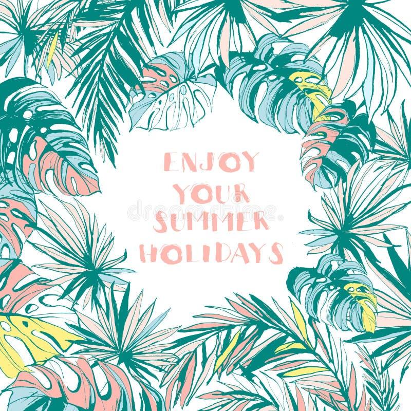 Quadro o teste padrão de folhas de palmeira tropicais tiradas mão da tinta ilustração stock