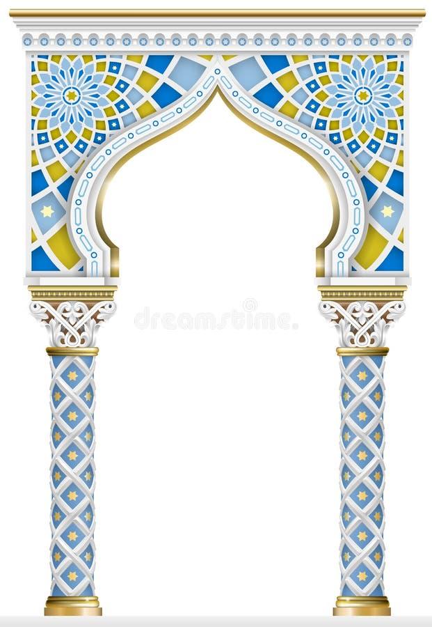 Quadro oriental do mosaico do arco ilustração royalty free