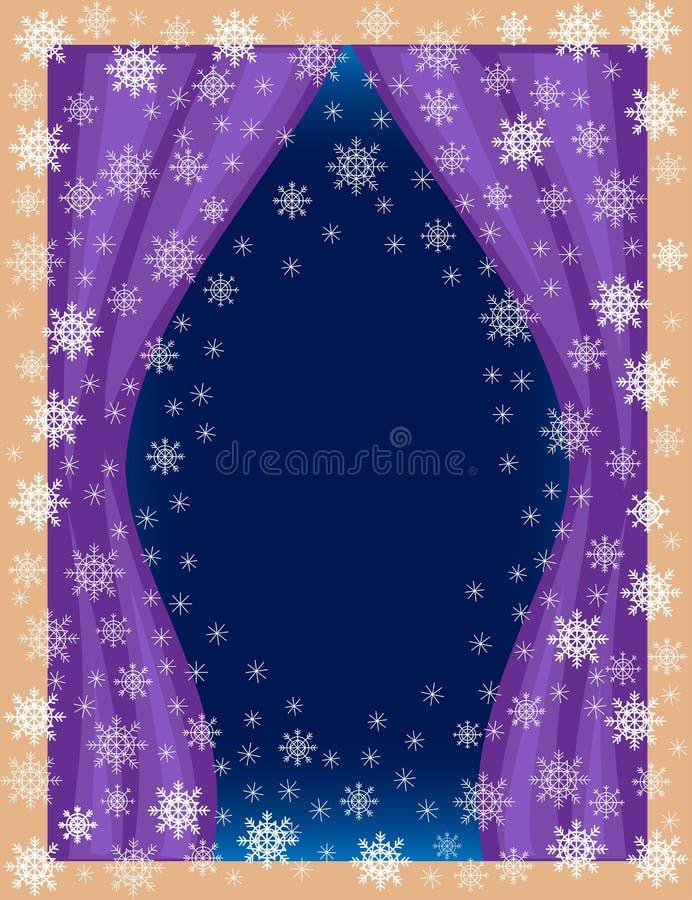 Quadro original para fotos e texto Ideia da sala da janela Flocos de neve a céu aberto em um fundo azul para criar um festivo ilustração stock