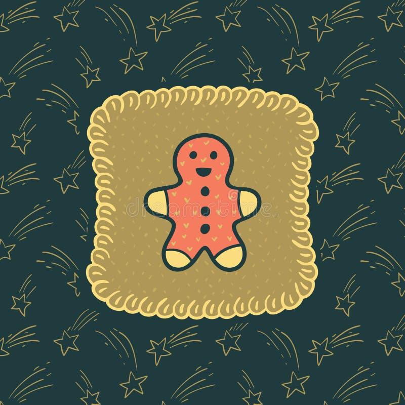 Quadro ornamentado do vintage do Natal e do ano novo com símbolo do homem de pão-de-espécie ilustração royalty free
