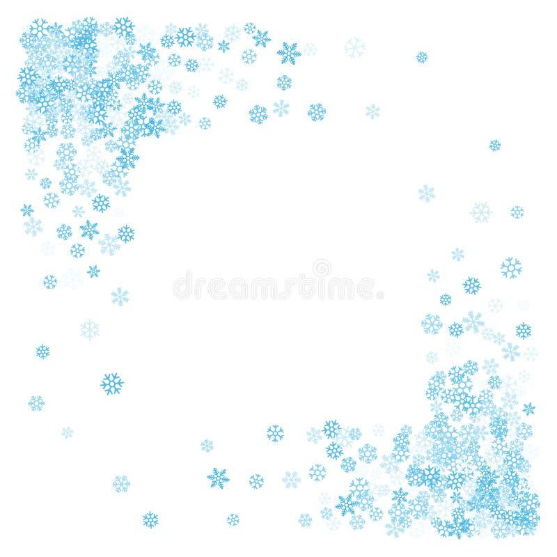 Quadro ou beira de flocos de neve aleatórios do scatter ilustração royalty free