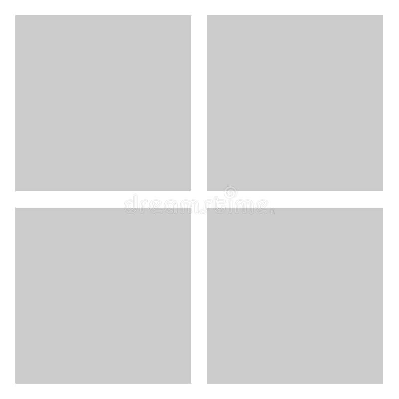 Quadro ou moodboard quadrado do vetor para fotos e imagens, colagem da foto, enigma da foto Molde para a colagem, a foto ou a ilu ilustração stock